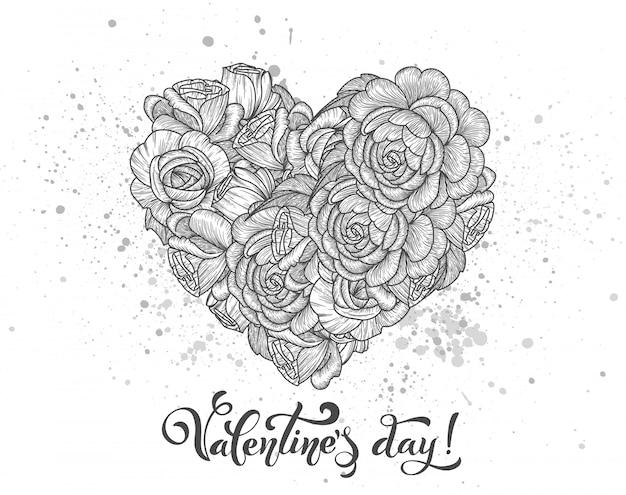 Cartas manuscritas de dia dos namorados. coração de rosas.