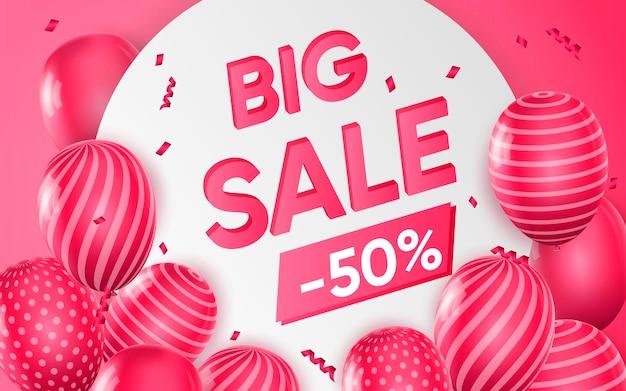 Cartaz 3d da grande venda com 50% de desconto nos preços em ilustração de design realista de publicidade