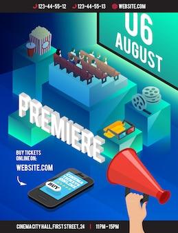 Cartaz 3d isométrico do cinema com os cubos incômodos do estilo do teatro que sentam os óculos do carretel de filme da pipoca