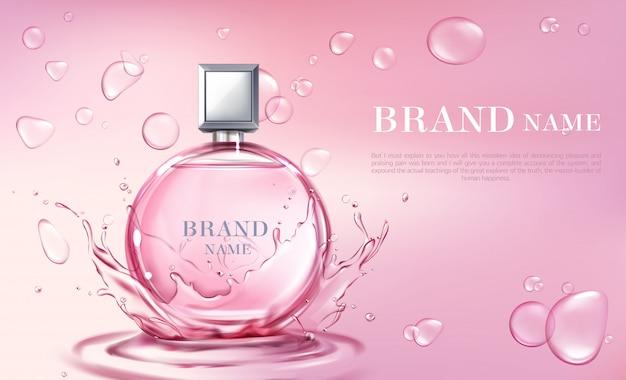 Cartaz 3d realista de vetor, banner com frasco de perfume