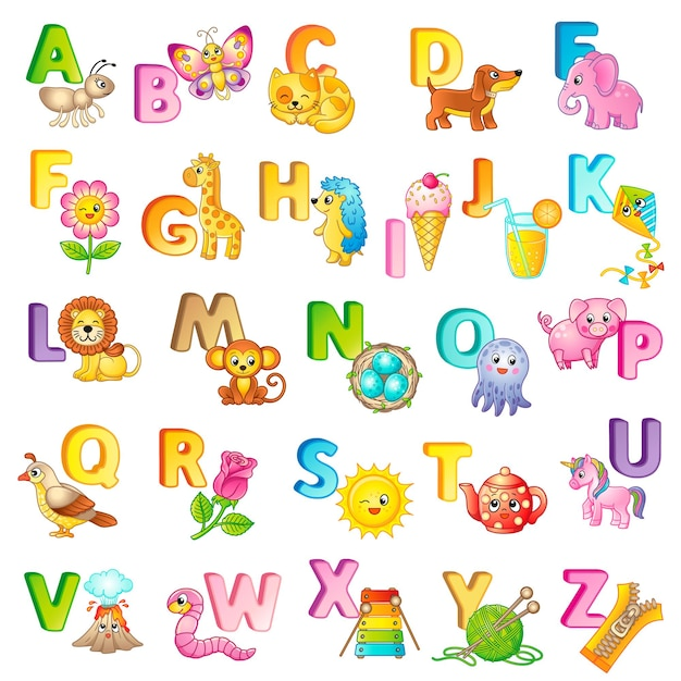 Cartaz abc com letras maiúsculas dos animais e coisas inglesas e bonitos dos desenhos animados. cartaz para o jardim de infância e pré-escola. cartões para aprender inglês. letra c. gato
