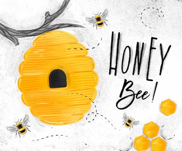 Cartaz, abelha mel