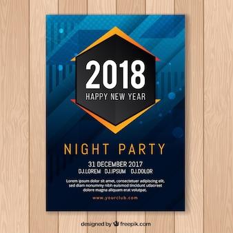 Cartaz abstrata do partido de ano novo em azul escuro com elementos laranja