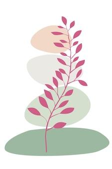 Cartaz abstrato com folhas de plantas e pedras ilustração abstrata com folhas e círculos