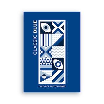 Cartaz abstrato com formas azuis