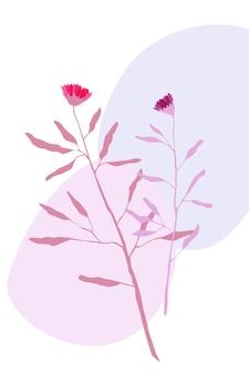 Cartaz abstrato com plantas, flores e pedras ilustração abstrata com folhas e círculos