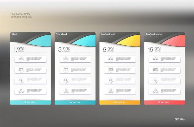 Cartaz abstrato com tarifa. modelo de banner da web. . modelo de apresentação. cartaz de férias. modelo de etiqueta de etiqueta de preço isolado.
