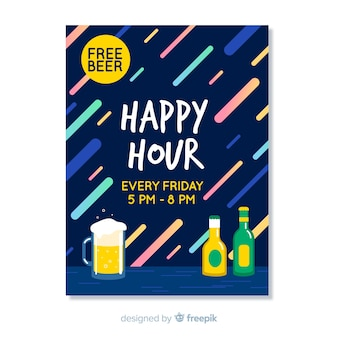 Cartaz abstrato de happy-hour