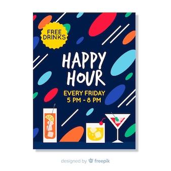 Cartaz abstrato de happy-hour