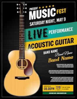 Cartaz acústico da guitarra viva do desempenho