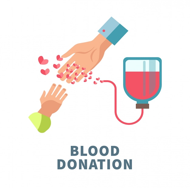 Cartaz agitador de doação de sangue com mãos de adulto e criança