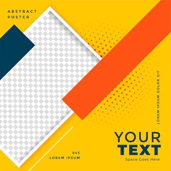 Cartaz amarelo de mídia social com espaço de imagem