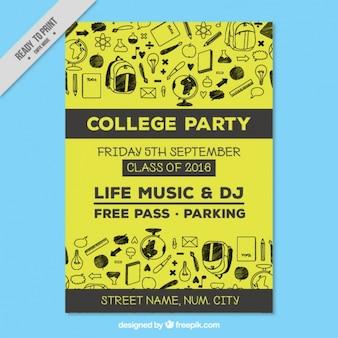 Cartaz amarelo para a festa de faculdade