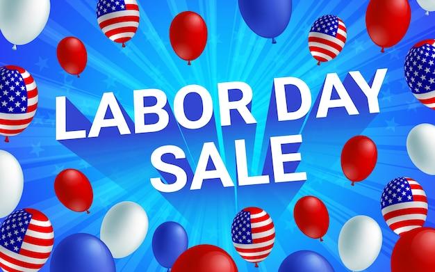 Cartaz americano do balão da celebração da venda do dia do trabalhador.
