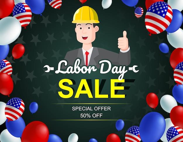 Cartaz americano do balão do homem da celebração da venda do dia do trabalhador.