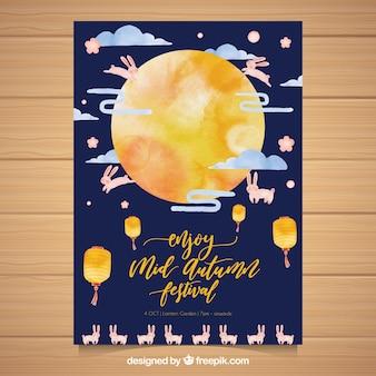 Cartaz asiático da festa da aguarela com lua e coelhos