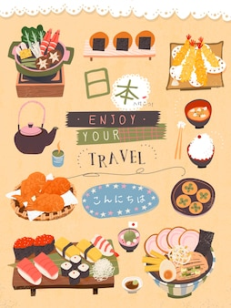 Cartaz atraente de iguarias japonesas vamos ao japão e olá em japonês
