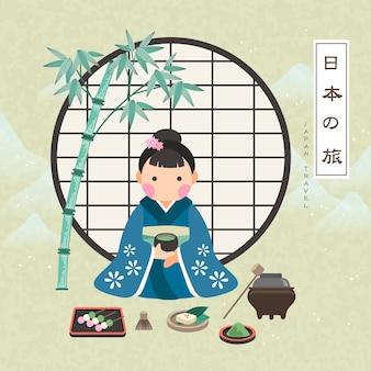 Cartaz atraente de viagens para o japão com a cerimônia do chá japan travel em palavras japonesas
