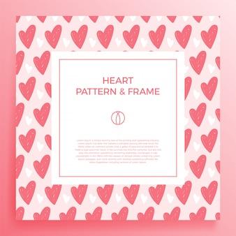 Cartaz, banner ou cartão borda do quadro com mão de amor desenhar padrão de coração de cor na moda.