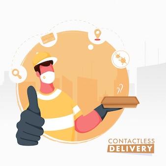 Cartaz baseado no conceito da entrega sem contato com o homem sem rosto do correio usa máscara protetora e mostrando o símbolo acima do polegar.