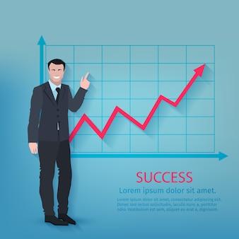Cartaz bem sucedido do homem de negócios