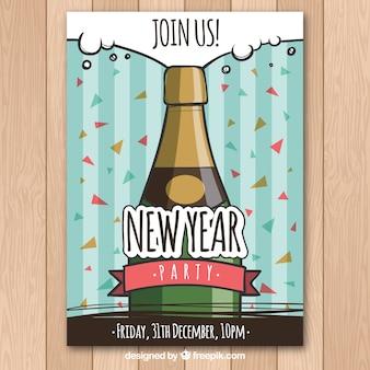 Cartaz bonito com ano novo desenhado com champanhe