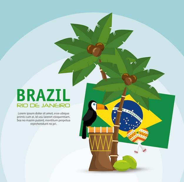 Cartaz brasil arara tambor bandeira palma