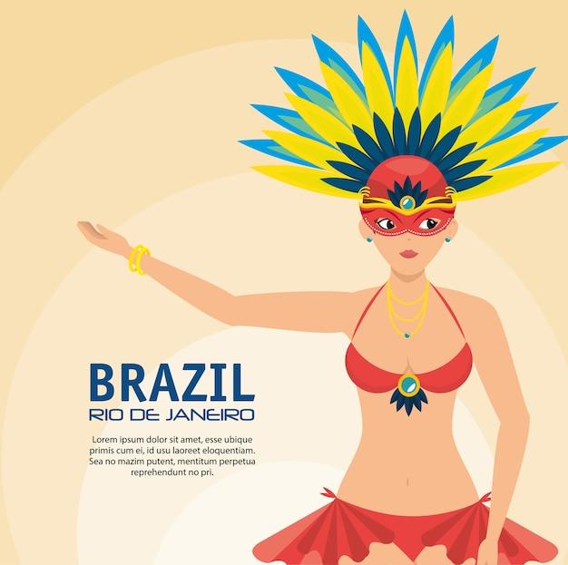 Cartaz brasil rio de janeiro garota apresentando