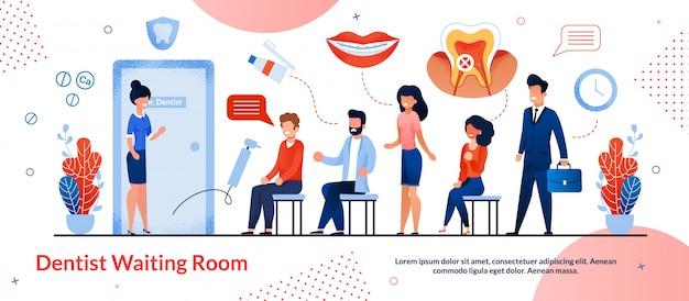 Cartaz brilhante é escrito dentista whiting room.