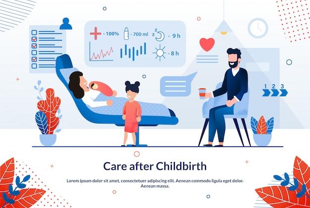 Cartaz brilhante inscrição cuidados após o parto.