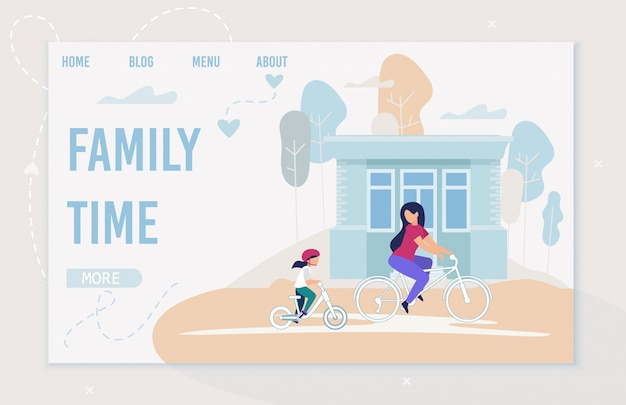 Cartaz brilhante inscrição tempo da família dos desenhos animados.