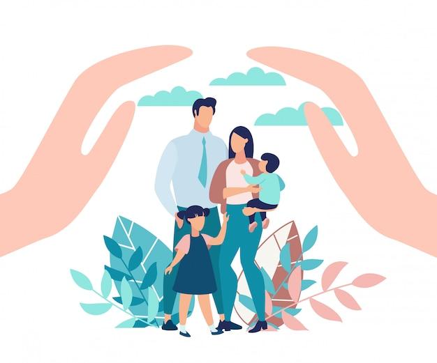Cartaz brilhante proteção familiar com crianças.