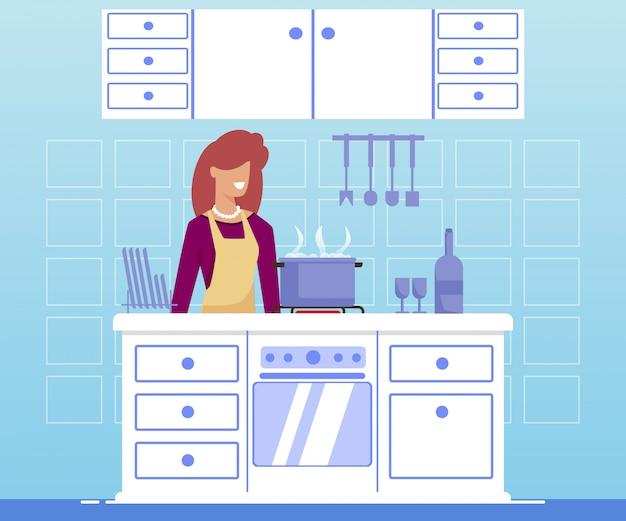 Cartaz brilhante que cozinha para o plano dos desenhos animados das mulheres.