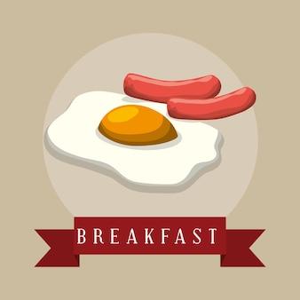 Cartaz café da manhã frito olhos salsichas fita