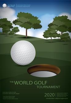 Cartaz campeão golfe modelo design ilustração vetorial
