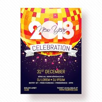 Cartaz, cartaz ou cartaz do partido da noite 2018 do ano novo.