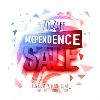 Cartaz, cartaz ou folheto da venda do dia da independência americano com design abstrato.