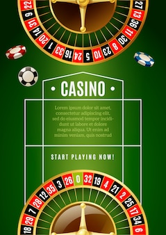 Cartaz clássico da propaganda do jogo da roleta do casino