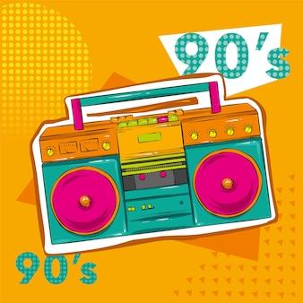 Cartaz colorido brilhante no estilo da cultura zine. equipamento de gravação vintage, boombox.