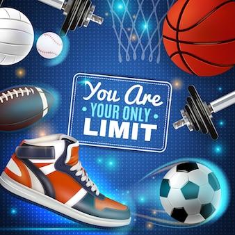Cartaz colorido com inventário de esporte