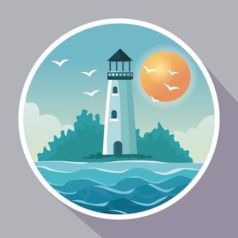 Cartaz colorido com moldura circular de beira-mar com farol na costa com sol no céu