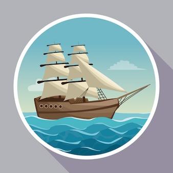 Cartaz colorido com moldura circular do oceano paisagem do oceano e veleiro