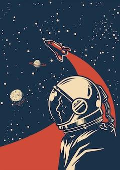 Cartaz colorido da galáxia vintage