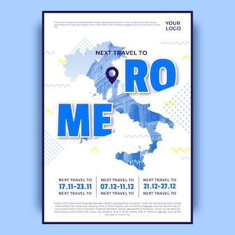 Cartaz colorido das viagens de roma