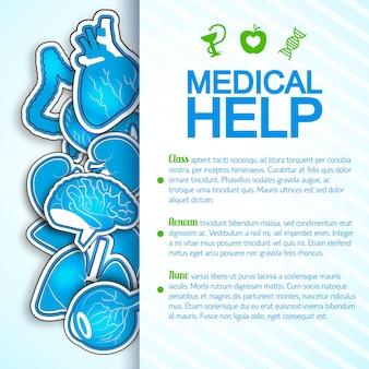 Cartaz colorido de ajuda médica com muitas imagens de órgãos humanos, incluindo o coração