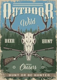 Cartaz colorido de caça vintage