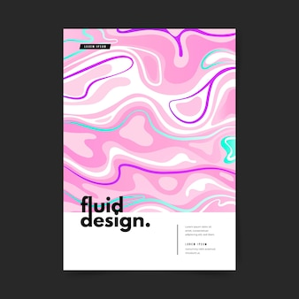 Cartaz colorido de efeito fluido de modelo