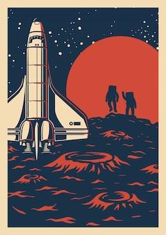 Cartaz colorido de exploração espacial