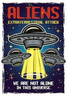 Cartaz colorido de ovnis com texturas e texto de ataque extraterrestre de alienígenas. ilustração vetorial