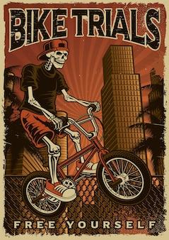 Cartaz colorido de um esqueleto está pulando de bicicleta na cidade. tema de design vintage para bicicleta
